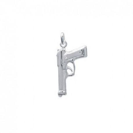 PENDENTIF REVOLVER Gun Flingue Pistolet ARGENT