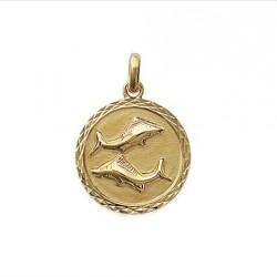 Pendentif Médaille Zodiaque POISSON Plaqué Or