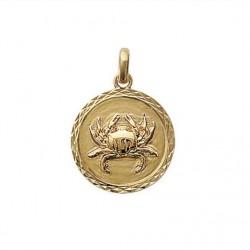 Pendentif Médaille Zodiaque CANCER Plaqué Or