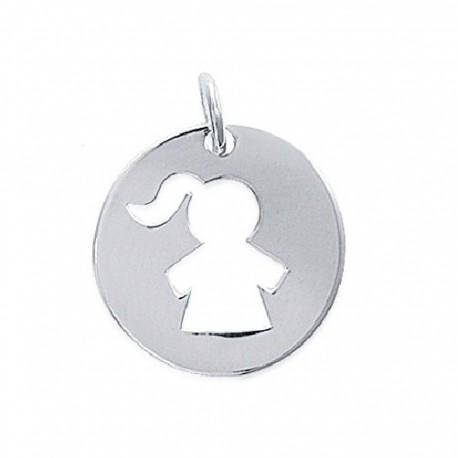 PENDENTIF médaille Petite FILLE FILLETTE ARGENT