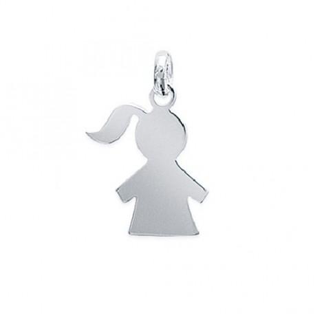 PENDENTIF Petite FILLE silhouette FILLETTE ARGENT
