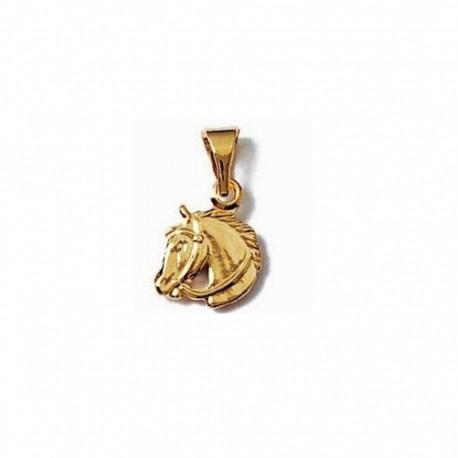 Pendentif tête de CHEVAL en plaqué or