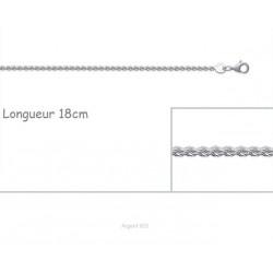 Bracelet Maille Corde 1,7 mm En Argent Massif