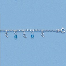 Bracelet Dauphin Et Cristal Bleu En Argent Massif