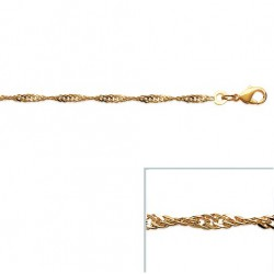 Bracelet Maille Singapour Torsadée 2,1 mm En Plaqué Or