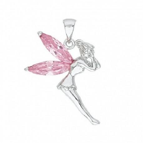 PENDENTIF Fée clochette Cristal ROSE ARGENT