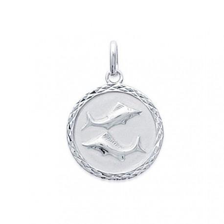 Pendentif Médaille Zodiaque POISSON ARGENT