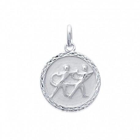 Pendentif Médaille Zodiaque GEMEAUX ARGENT