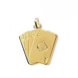 PENDENTIF Jeu carte Carré D' AS poker Plaqué OR