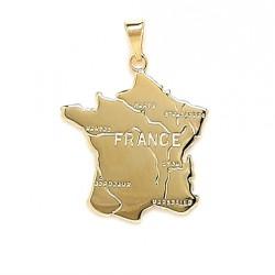 PENDENTIF carte de FRANCE en Plaqué OR