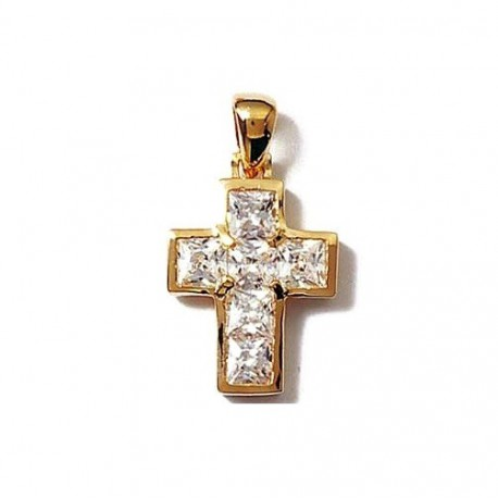 PENDENTIF CROIX catholique Plaqué OR + Zirconium