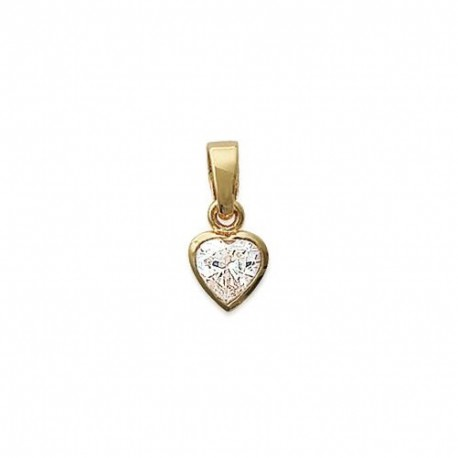 PENDENTIF Coeur Solitaire Zirconium Plaqué OR