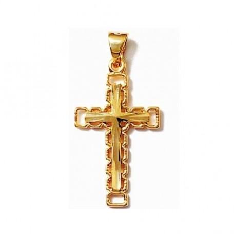 PENDENTIF CROIX catholique Ciselé ajouré en Plaqué OR