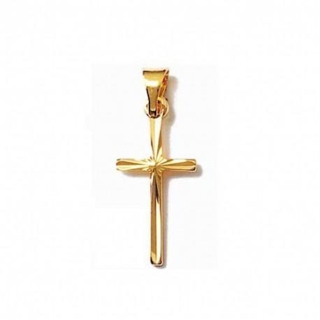 PENDENTIF Petite CROIX catholique ciselé en Plaqué OR