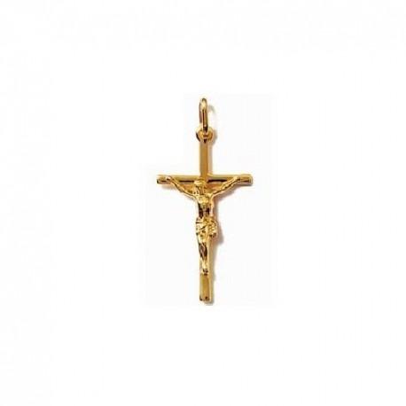 PENDENTIF CROIX catholique + CHRIST en Plaqué OR