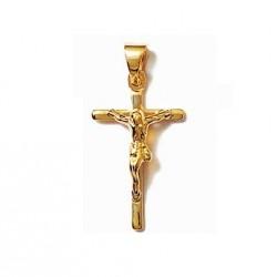 PENDENTIF Petite CROIX catholique + CHRIST en Plaqué OR