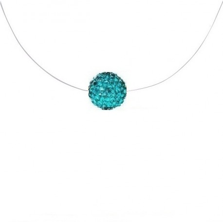 collier turquoise boule shamballa fil nylon de peche. Black Bedroom Furniture Sets. Home Design Ideas