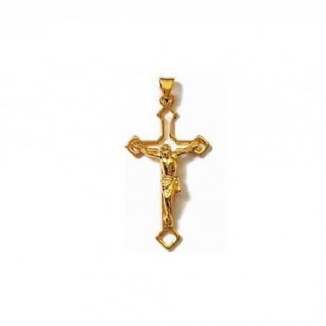 PENDENTIF Grande CROIX catholique + CHRIST en Plaqué OR