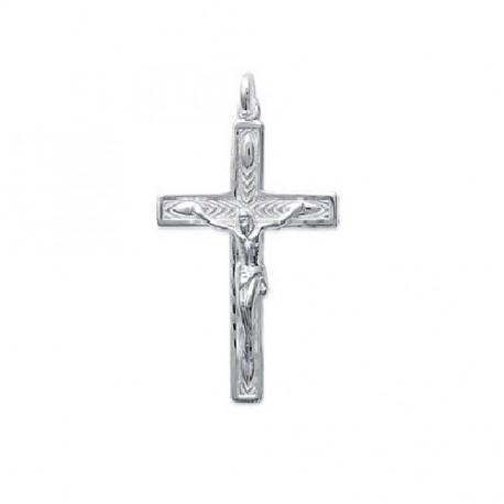 PENDENTIF Grande CROIX Chretienne + CHRIST ARGENT