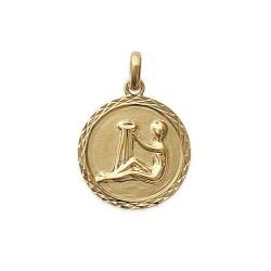 Pendentif Médaille Zodiaque VERSEAU Plaqué Or
