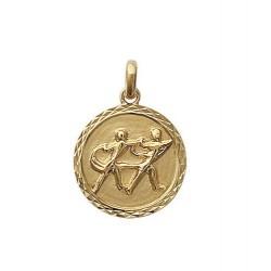 Pendentif Médaille Zodiaque GEMEAU Plaqué Or