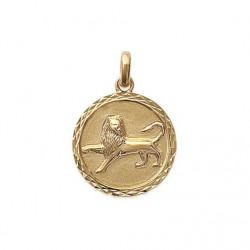 Pendentif Médaille Zodiaque LION Plaqué Or