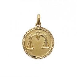 Pendentif Médaille Zodiaque BALANCE Plaqué Or