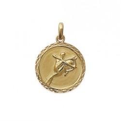 Pendentif Médaille Zodiaque SAGITAIRE Plaqué Or