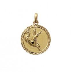 Pendentif Médaille Zodiaque CAPRICORNE Plaqué Or
