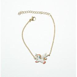 Bracelet Licorne en Acier Inoxydable Doré 16 cm + 4 cm d'Extension