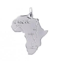 PENDENTIF carte d' AFRIQUE AFRICA en ARGENT