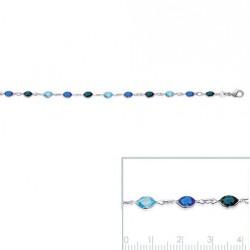 Bracelet Cristal 3 Teintes De Bleu En Argent Massif