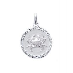 Pendentif Médaille Zodiaque CANCER ARGENT