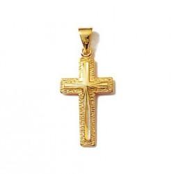 PENDENTIF CROIX catholique Ciselée en Plaqué OR