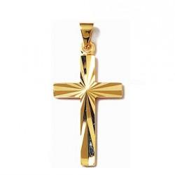PENDENTIF Grande CROIX catholique Ciselé Plaqué OR