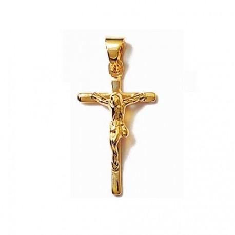 CHRIST en Plaqué OR PENDENTIF Petite CROIX catholique